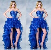 2016 neue Design Luxus Kristall blau A-Line Cocktailkleider Sommer Reizvolle Trägerlose Vestido High Low Kleid