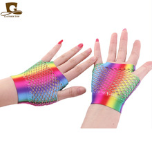 1 Pair New Fashion Women Ladies Sexy Party tie-dyed  Wrist Length Fingerless Fishnet Glove Performance Gloves