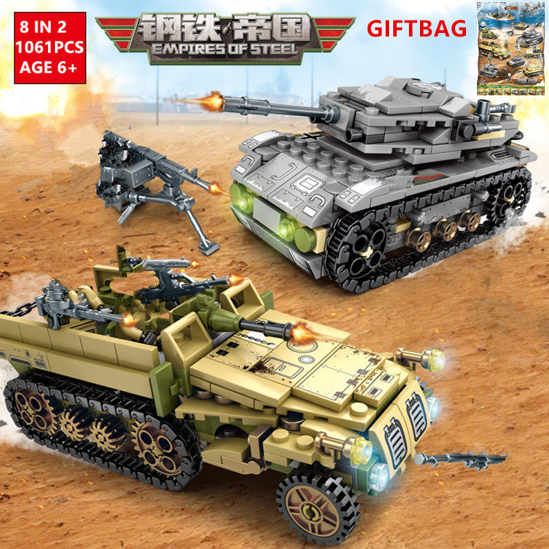 Impérios 8 EM 2 1061Pcs Tanque Militar de Aço Técnica Tijolos Conjuntos de Blocos de Construção do Carro de Guerra LegoINGLs Caminhão Do Exército crianças Brinquedos DIY