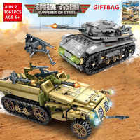 8 IN 2 1061Pcs Military Tank Empires of Steel Technic Bricks Army Truck LegoINGLs Building Blocks Sets War Chariot DIY Kids Toys