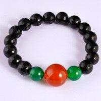 Red Glass Bracelet 2015 New Manchette Round Stone Black Beads Bracelete Bijoux Strand Bracelets Hamsa Bracelet