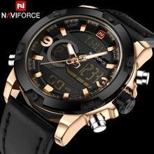 NAVIFORCE Marca Dual Dispaly Reloj Hombre 30 M Impermeable Se Divierte los Relojes Luminosos Analógico LED Digital Relojes de Pulsera Banda de Cuero Reloj