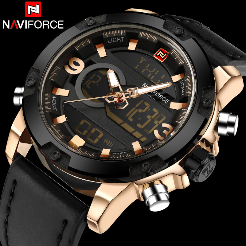NAVIFORCE Brand Dual Dispaly Watch Men 30M Waterproof Sports Watches Luminous Analog LED Digital Wristwatches Leather Band Clock