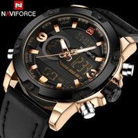 NAVIFORCE Brand Dual Dispaly Watch Men Sports Watches 30m Waterproof Luminous Analog Led Digital Wristwatches Leather