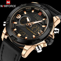NAVIFORCE Brand Dual Dispaly Watch Men Sports Watches 30m Waterproof Luminous Analog Led Digital Wristwatches Leather
