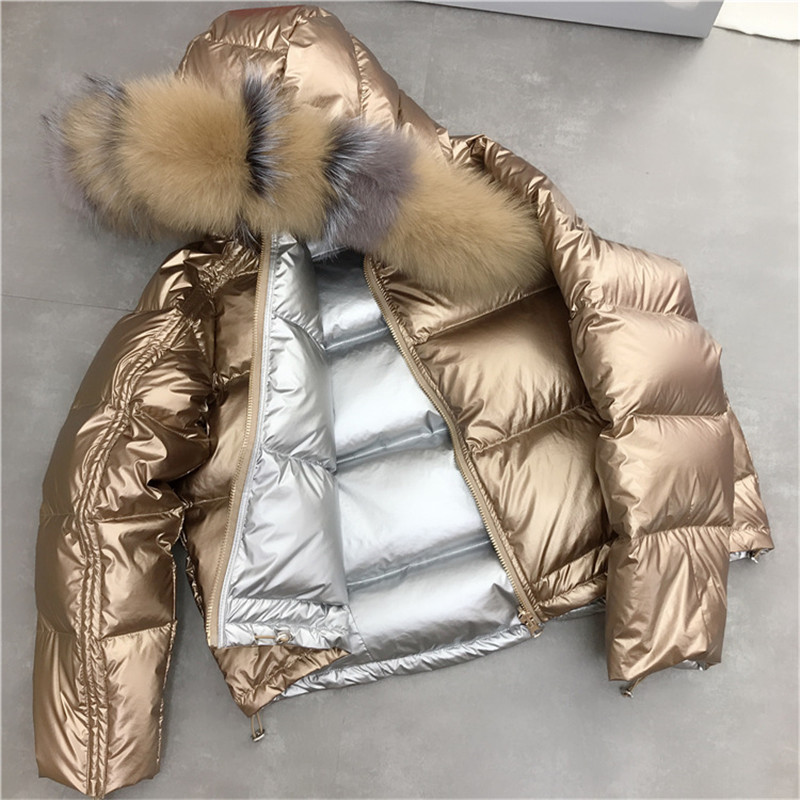 Women's Clothing 2018 Natural Fox Fur Collar Hooded Coat Black Silver Golden White Duck Down Jacket Casual Women Clothing Fashion Outerwear Real Fur