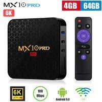 MX10 Pro Smart TV Box Android 9.0 Allwinner H6 Quad Core 4GB 32GB 64GB 2.4G WiFi USB3.0 Support 6K * 4K H.265 décodeur