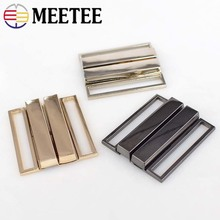 Meetee 2pcs 40mm/50mm Metal Buttons Down Jacket Belt Buckle Clothing Tri-glide Adjust Slider DIY Decorative Accessories