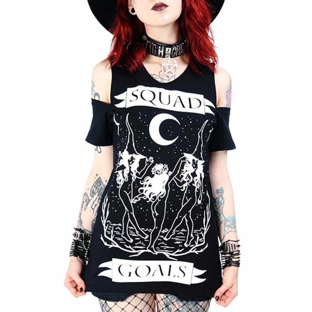 Women's blouse  Gothic Punk moon Print Off Shoulder Short Sleeve Blouse ladies  Witch party dark Tops shirts girls blouse #G8