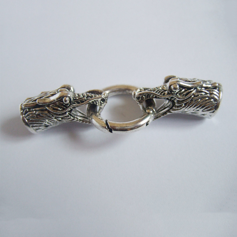 3 sets Silver Lion Head End Cap /& Spring Clasp For 8mm Leather Cord Bracelet
