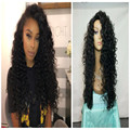 Long Kinky Curly 1b Synthetic Lace Wig For Black Women High Quality Braided Synthetic Lace Front Wigs Afro Curly With Baby Hairs