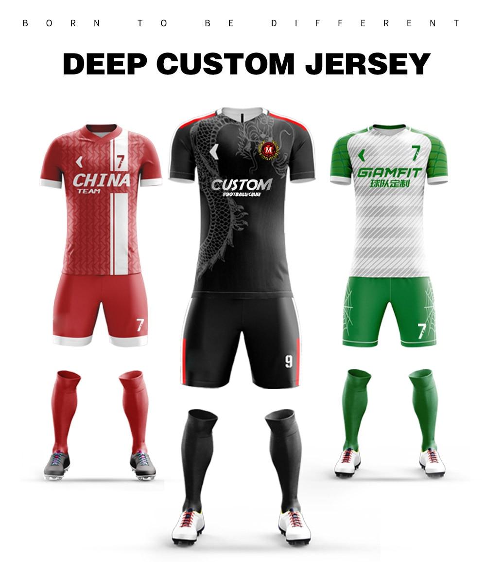 3ed16b711d9 Soccer Jerseys Design Custom Football Uniforms Fully Sublimation Football  Jerseys Club College Camisetas Futbol Shirt Sportswear