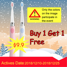 SEAGO Sonic Electric Toothbrush Battery brush with 3 Replacement Brush Heads Waterproof buy one get one free new Year Gift SG503