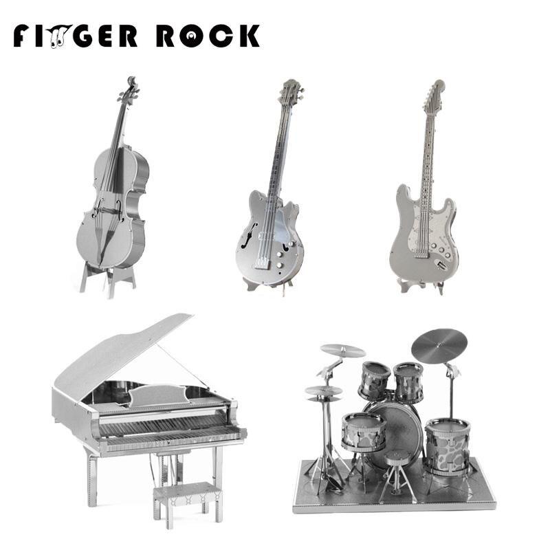 Dedo Banda de Rock Metal 3D Rompecabezas DIY Modelo de Instrumento Musical Guita