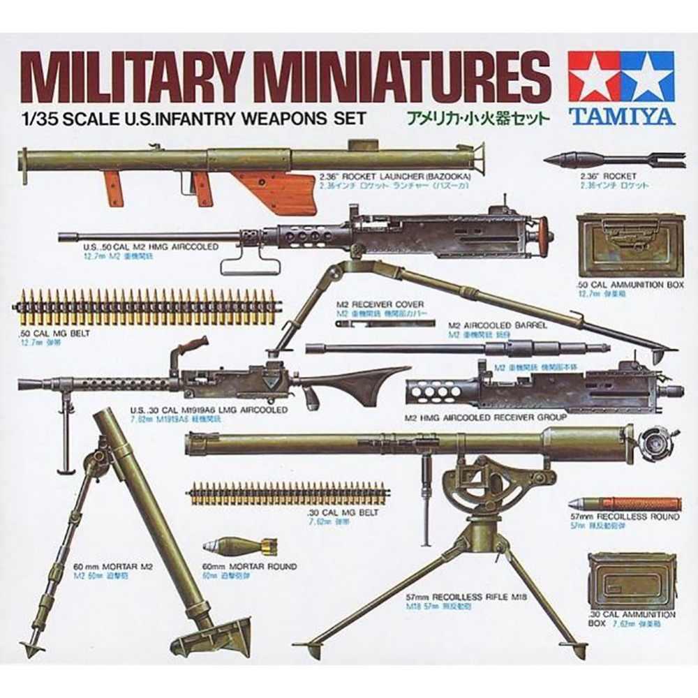 Ohs tamiya 35121 1/35 eua conjunto de armas de infantaria montagem militar miniaturas modelo kits de construção