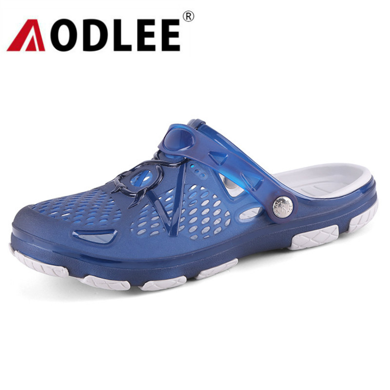 AODLEE Jelly Shoes Sandals Men Breath Mens Sandals Summer Outdoor Beach Sandals Casual Shoes Men Slippers Croc Clogs Men Shoes