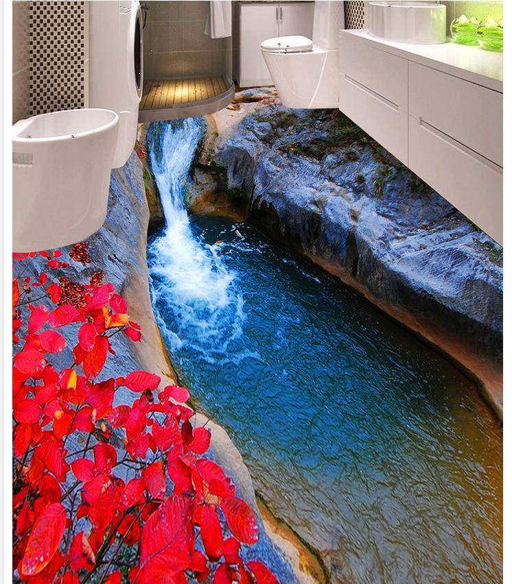 Home Decoration 3d customized wallpaper Mountain Red Leaf Toilet Bedroom 3D Floor floor tiles toilet time floor golf game set