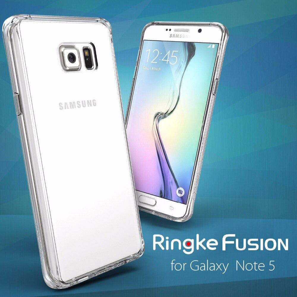 Цена за 100% Оригинальные Ringke Fusion/тонкий чехол для Samsung Galaxy Note 5-полная защита заднюю крышку телефона, футляры для Galaxy Note 5