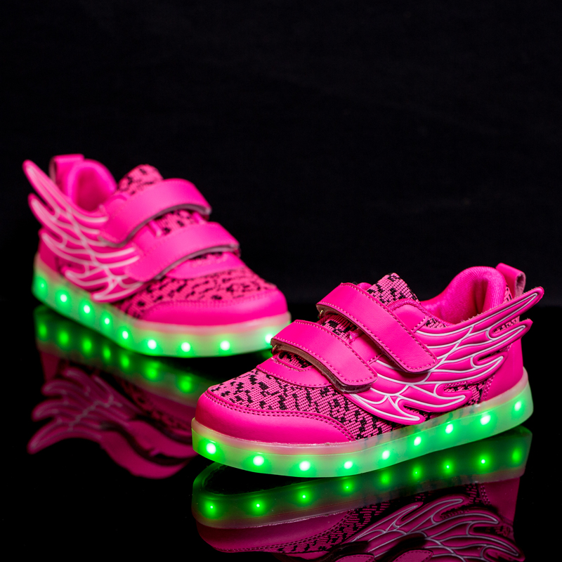 2017 New Fashion USB Rechargeable LED Light Casual Shoes/Boys and Girls Wings Flying Series High Quality Leisure Sneaker