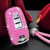Handmade Female Luxury Diamond Decoration Car Key Case Cover for Audi B8 B7 B6 A4 A5 A6 A7 A8 Q5 Q7 R8 TT Auto Key Chain Ring