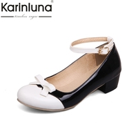 KarinLuna Large Size 33 43 Mary Janes Square Heels Women Shoes Woman Pink White Black Sweet