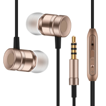 Fonge New Metal Headphone Super Earphones Bass Volume Control With Mic Headsets For All Mobile Phone Mp3 PC 3.5mm