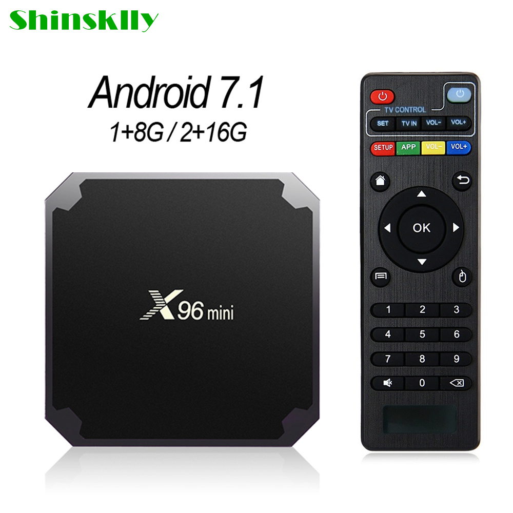 Cheap X96 Mini Android 7.1 Tv Box 1G+8G/2G+16G Amlogic S905W Quad Core Support 4K Media Player 2.4G Wifi x96mini Set Top Box