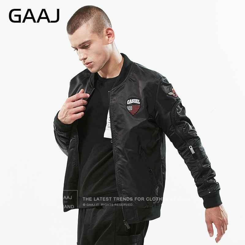 Gaaj 2019 캐주얼 자켓 자수 epaulet 디자인 윈드 브레이커 폭격기 재킷 가을 야구 재킷 남성 코트 # gam4r