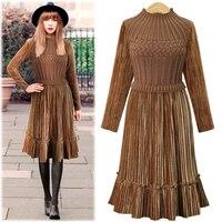 2017 Autumn Fashion High Temperament Winter Dress Women O Neck Slim Long Sleeve Long Knitting Patchwork