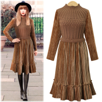 2018 Autumn Fashion High Temperament Winter Dress Women O Neck Slim Long Sleeve Long Knitting Patchwork