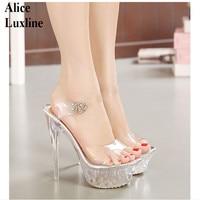 Hot Clear Women High Heel Transparent Shoes Ladies Platform Pumps Open Toe Heels Party Shoes High