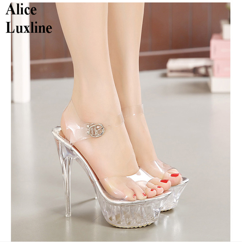 Hot clear Women High Heel Transparent Shoes ladies Platform Pumps Open Toe Heels Party Shoes High Heel Sandals euro 35-43 USA UK