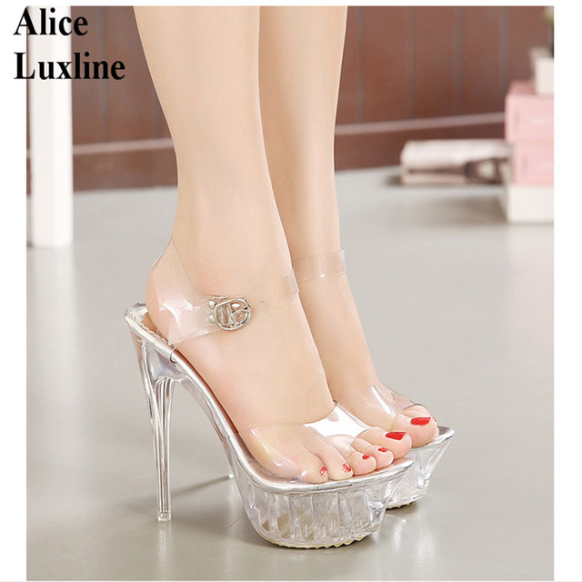 Hot clear Women High Heel Transparent Shoes ladies Platform Pumps ...