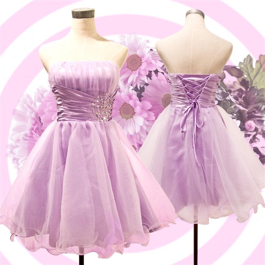 Rosa púrpura Azul Real Del Organza Corto de Fiesta Vestidos de ...