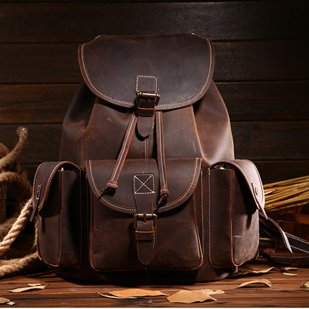 Top Quality Crazy Horse Cowhide First Layer Knapsack Male Computer Bag School Bags Vintage Genuine Leather Rucksack Men Backpack hot selling crazy horse leather man bag vintage casual first layer of cowhide handbag one shoulder cross body computer bag 0201