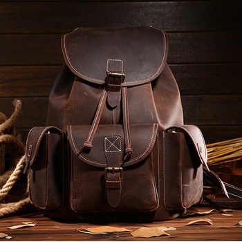 Top Quality Crazy Horse Cowhide First Layer Knapsack Male Computer Bag School Bags Vintage Genuine Leather Rucksack Men Backpack - DISCOUNT ITEM  35% OFF All Category