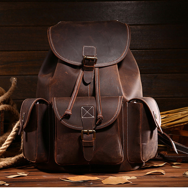 41bb6215a688 Top Quality Crazy Horse Cowhide First Layer Knapsack Male Computer Bag  School Bags Vintage Genuine Leather Rucksack Men Backpack