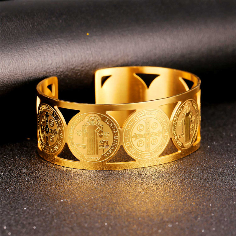 Collare Saint Benedict Medal Bangles 316L Stainless Steel Men Jewelry Gold Color St Benedict Medal Cuff Bracelets Women H162 7