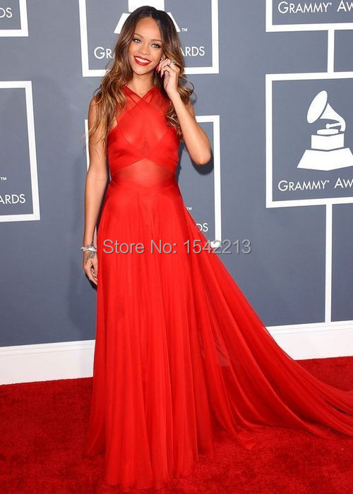 Rihanna Red Prom Dress Grammys 2017 Carpet Gown See Through Long Train Evening Dresses Celebrity Party In Inspired From Weddings