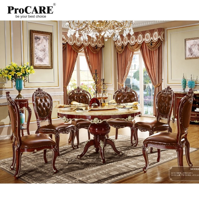 6 Seater Imported Wooden Round Marble Dining Table And Chairs Set Design 6015