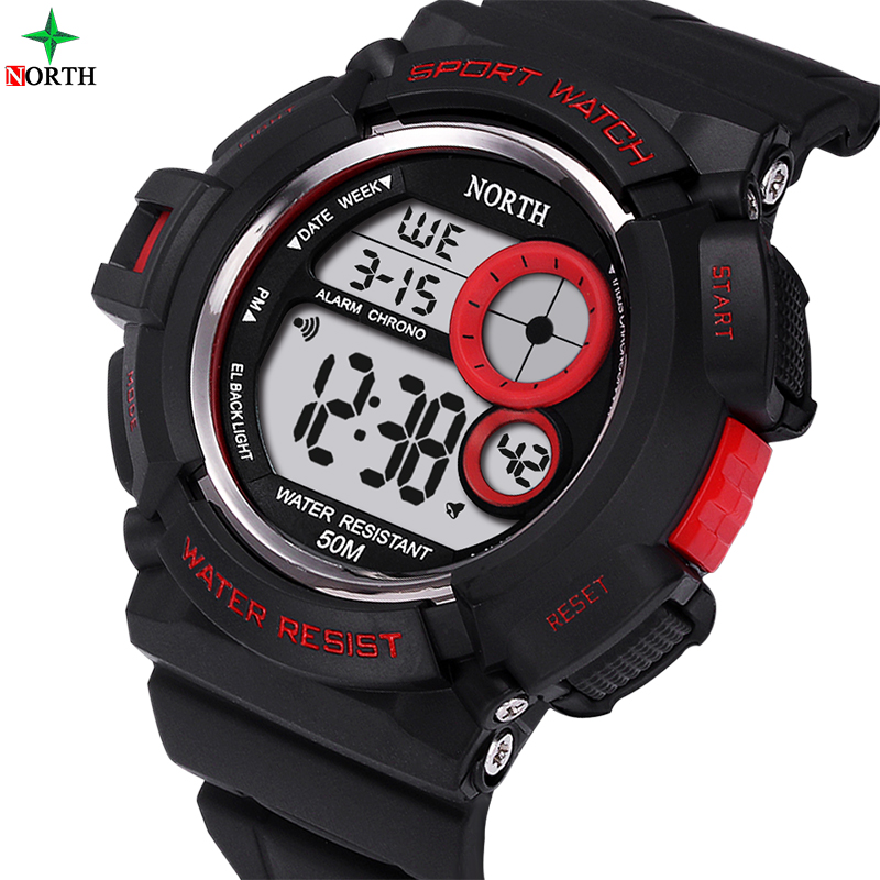 LED Digital Watch Sport Men 50M Waterproof Male Clock Running Swimming Alarm 2017 Military Silicone Electronic