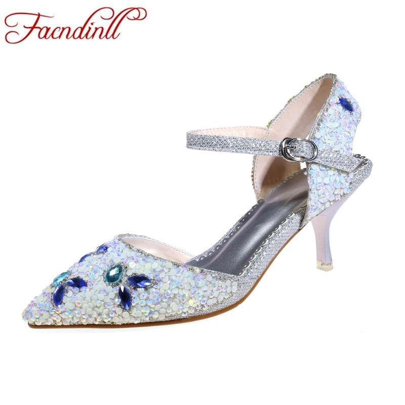 FACNDINLL fashion rhinestone summer shoes woman thin high heels sandals sweet sexy pointed toe shoes women wedding party brand shoes woman spring summer rainbow women pumps high heels fashion sexy slip on pointed toe thin heel party wedding shoes