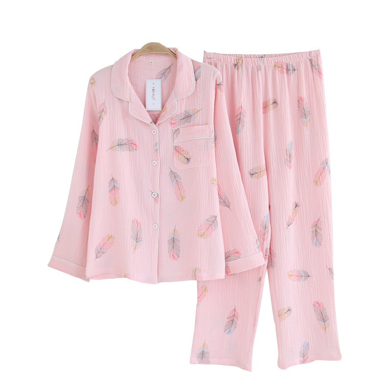 New Winter Women's Cotton Crepe   Pajamas   Long-sleeved Trousers   Pajama     Set   Feather Print 2-piece Pijama Suit Household Clothes