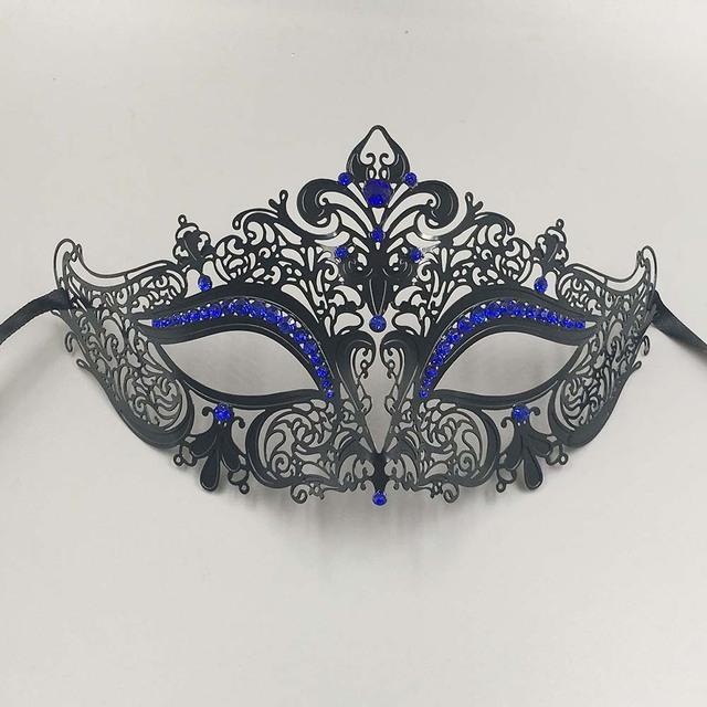 Black Red Blue Rhinestones Phantom Couple Masquerade Masks