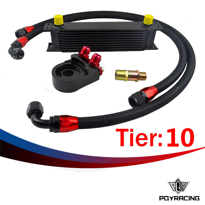 ФОТО PQY RACING- Universal 10 ROWS OIL COOLER ENGINE+AN10 Oil Filter Cooler Sandwich Plate Adapter Black+2PCS NYLON BRAIDED HOSE LINE