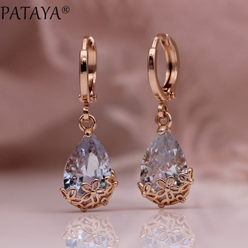 PATAYA New White Water Drop Long Earrings 585 Rose Gold Patterned Asymmetry Cute Dangle Earrings Women.jpg 350x350 - PATAYA New White Water Drop Long Earrings 585 Rose Gold Patterned Asymmetry Cute Dangle Earrings Women Wedding Fashion Jewelry