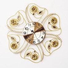 Wall Clocks Noble pearl diamond acrylic iron clock mute horizontal watch room