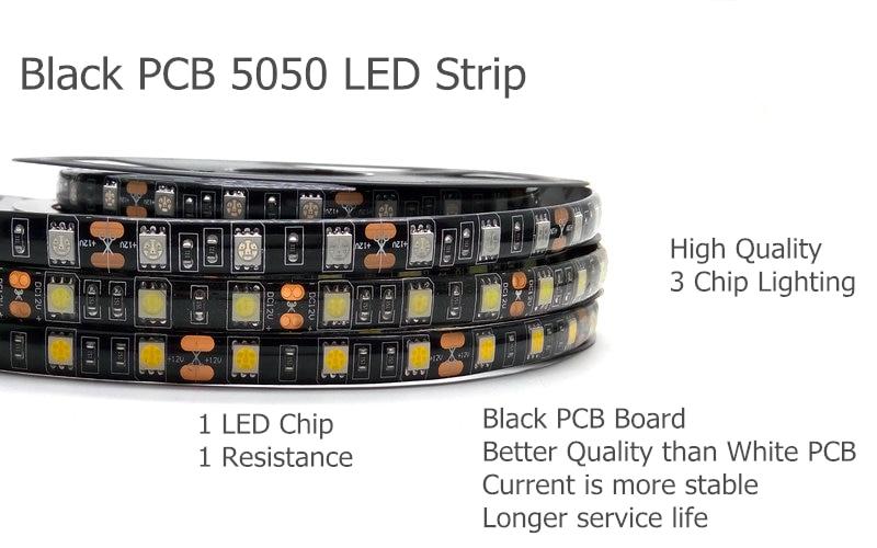 IP20 / IP65 Suya davamlı 5M Qara PCB 5050 LED Strip İşıq Dəsti - LED işıqlandırma - Fotoqrafiya 2