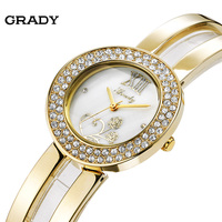 Grady Fashion Watch Gold Womens Watch Diamonds Bangle Wrist Bracelet Watch With Pearl Face