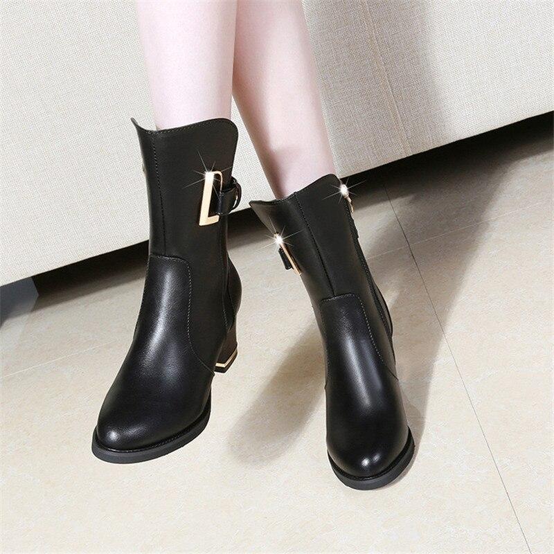 Otoño 2018 Las E Alto Tobillo Zapatos Invierno De Tacón Mujeres Martin Negro brown Plataforma Botas Nuevas Mujer UITxwqArU